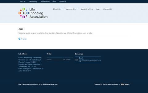 Screenshot of Signup Page lifeplanningassociation.org.uk - Join > Life Planning Association - captured Sept. 30, 2014