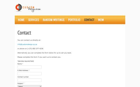 Screenshot of Contact Page customdesign.co.za - Contact - Custom Design - captured Sept. 30, 2014