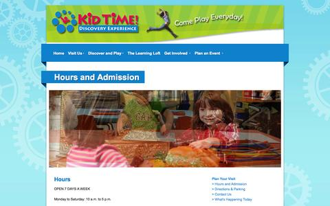 Screenshot of Hours Page snappages.com - Kid Time! Discovery Experience - Hours and Admission - captured Sept. 18, 2014