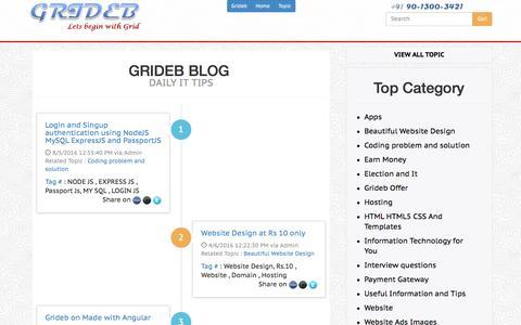 Screenshot of Blog grideb.com - Free Web Technical Blog | Angular JS Blog | Coding Blog | IT Tips - captured Nov. 16, 2016