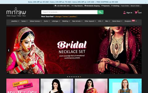 Screenshot of Home Page mirraw.com - Online Shopping Sites for Women, Indian Fashion Clothes - Mirraw - captured Jan. 12, 2018