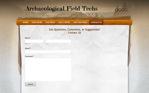 Screenshot of Contact Page archaeologicalfieldtechs.com - Contact Us -  Archaeological Field Techs - captured Sept. 30, 2014