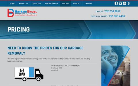 Screenshot of Pricing Page bartenbros.com - Waste Disposal Point Pleasant | Junk Removal NJ | Junk Car Removal 08742 - Barten Bros Junk & Clean Up - captured Dec. 18, 2018