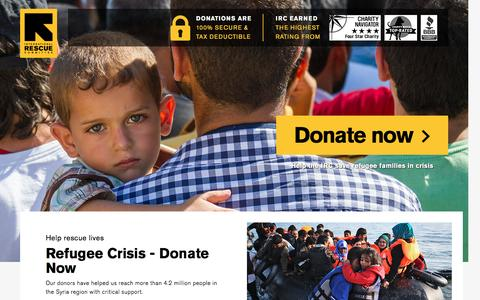 Screenshot of Landing Page rescue.org - Refugee Crisis - Donate Now | International Rescue Committee - captured Nov. 27, 2016