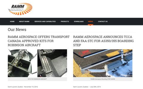 Screenshot of Press Page rammaero.com - Our News - RAMM Aerospace - captured Dec. 3, 2016