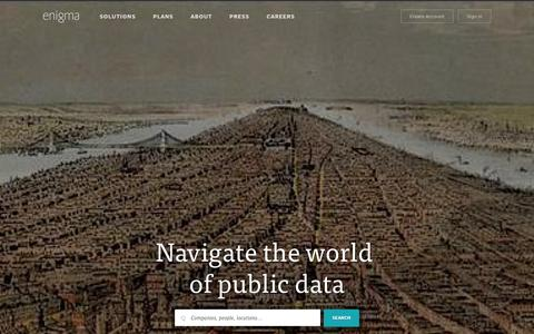 Screenshot of Home Page enigma.io - Enigma - captured Sept. 16, 2014