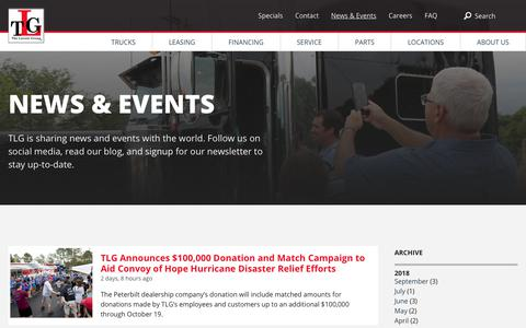 Screenshot of Blog tlgtrucks.com - TLG Peterbilt News & Events - captured Sept. 29, 2018