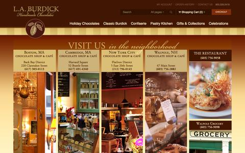 Screenshot of Locations Page burdickchocolate.com - L.A. Burdick Chocolate Chocolate Shop and Cafe Locations, The Restaurant at Burdicks, Walpole Grocery - - captured Oct. 1, 2014