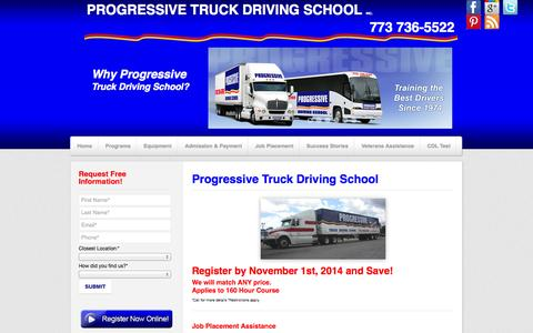 Screenshot of Home Page cdltruck.com - Chicago Truck Driving School | Chicago CDL Training | Chicago Truck Driving Training - captured Oct. 3, 2014