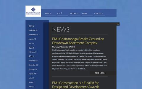 Screenshot of Press Page emjcorp.com - News | EMJ Construction - captured Jan. 23, 2016
