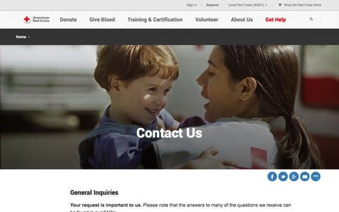 Screenshot of Contact Page redcross.org - Contact Us | American Red Cross - captured Jan. 26, 2016