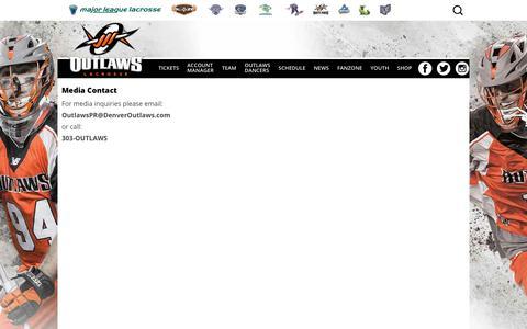 Screenshot of Press Page denveroutlaws.com - Media Contact | Denver Outlaws - captured Aug. 6, 2018