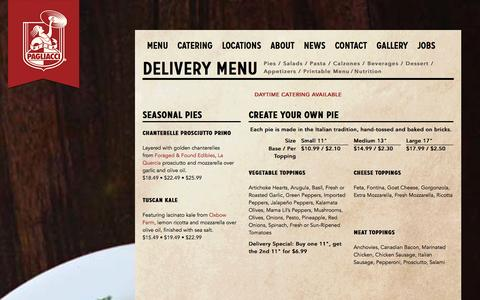 Screenshot of Menu Page pagliacci.com - Pagliacci Pizza - Seattle Area Pizzeria and Delivery - Catalog - captured Nov. 3, 2014