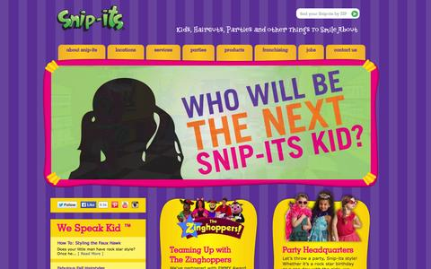 Screenshot of Home Page snipits.com - Kids Haircuts, Parties, & Fun | Snip-its Haircuts for Kids - captured Sept. 19, 2014