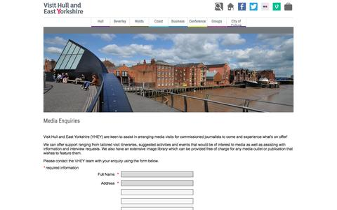 Screenshot of Press Page visithullandeastyorkshire.com - Media Enquiries | Visit Hull & East Yorkshire - captured Dec. 15, 2016