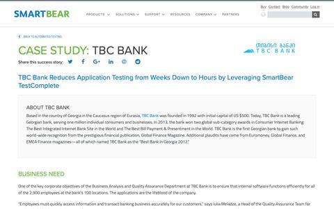 Screenshot of Case Studies Page smartbear.com - Case Study: TBC Bank | SmartBear - captured Dec. 6, 2018