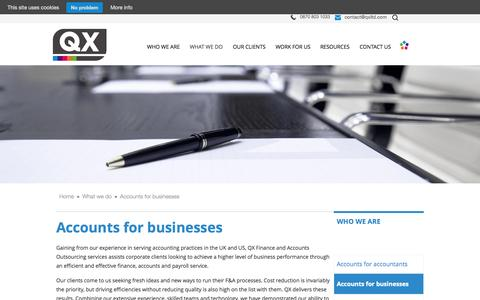 Screenshot of Services Page qxltd.com - Accounts outsourcing for businesses | QX Limited - captured Sept. 29, 2014
