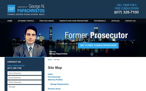 Screenshot of Site Map Page gnplawoffice.com - Site Map :: Milton Crime Lawyer Law Office Of George N. Papachristos - captured Oct. 29, 2016