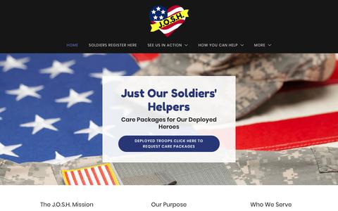 Screenshot of Home Page justoursoldiershelpers.org - Care Packages for Deployed Heroes - Just Our Soldiers Helpers - captured Oct. 14, 2018