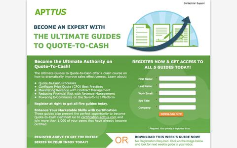 Screenshot of Landing Page apttus.com - Become the Ultimate Authority on Quote-To-Cash! - captured March 15, 2016