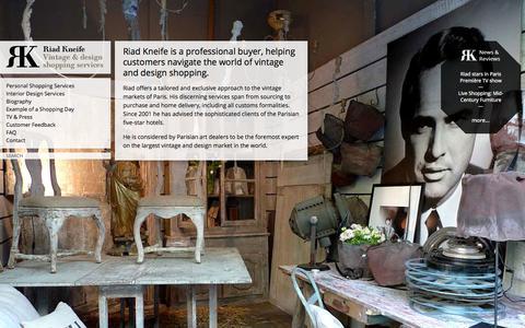 Screenshot of Home Page kneife.com - Riad Kneife | Vintage & design shopping services - captured Oct. 1, 2014