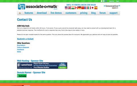 Screenshot of Contact Page associate-o-matic.com - Associate-O-Matic | Contact Us - captured July 31, 2018