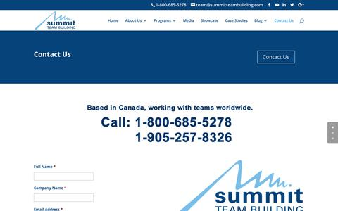 Screenshot of Contact Page summitteambuilding.com - Team Building Activities Consultants | Summit Team Building - captured Oct. 19, 2018