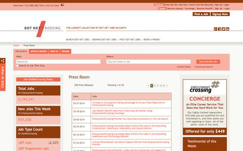 Screenshot of Press Page dotnetcrossing.com - DotNetCrossing.com News, Press Room, Press Releases | DotNetCrossing.com - captured Aug. 7, 2018