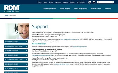 Screenshot of Support Page rdmcorp.com - Technical Support | RDM Corporation - captured Oct. 18, 2018
