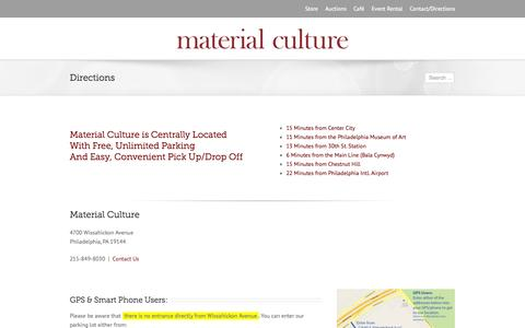 Screenshot of Maps & Directions Page materialculture.com - Material Culture   –  Directions - captured Sept. 30, 2014