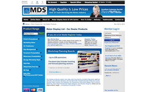Screenshot of Home Page motordisplay.com - Car display products, Key tags, planning boards – Motordisplay.com - captured Oct. 6, 2014