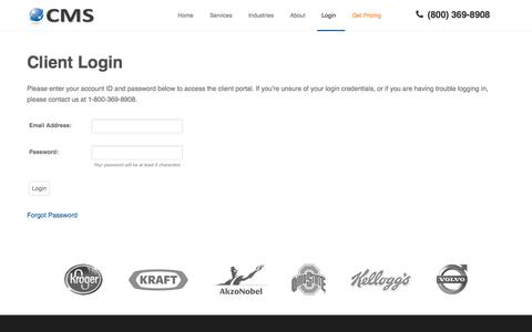 Screenshot of Login Page continentalmessage.com - Client Portal Log-in | Continental Message Solution - captured Oct. 2, 2014