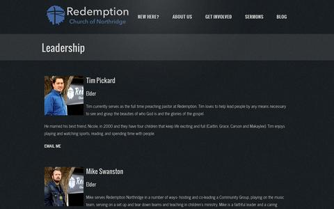 Screenshot of Team Page rcnorth.org - Leadership | Redemption Church of Northridge - captured Oct. 26, 2014