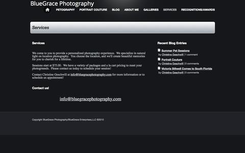 Screenshot of Services Page bluegracephotography.com - BlueGrace Photography - Services - captured July 16, 2015