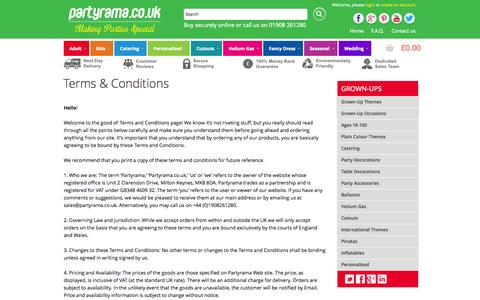 Screenshot of Terms Page partyrama.co.uk - Terms & Conditions | Partyrama.co.uk - captured Sept. 19, 2014