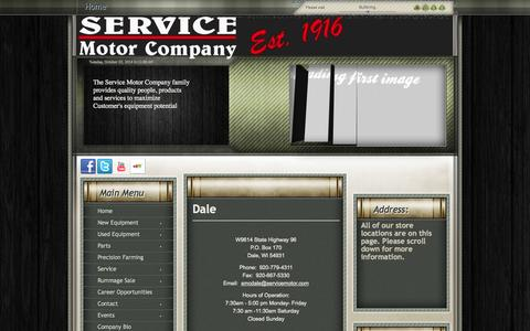 Screenshot of Contact Page servicemotor.com - Service Motor Company - An Agricultural and Construction Dealer with 6  locations in Wisconsin: Dale, Fond du Lac, Green Bay, Seymour, Stevens Point,  and Wausau - captured Oct. 7, 2014