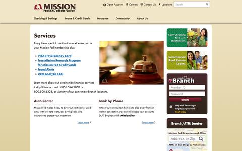 Screenshot of Services Page missionfed.com - Learn More About Credit Union Financial Services - Mission Fed - captured Sept. 23, 2014