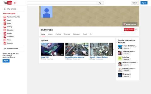 Screenshot of YouTube Page youtube.com - blumerusa  - YouTube - captured Oct. 25, 2014