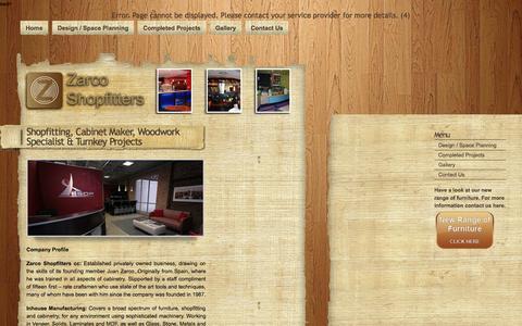 Screenshot of Home Page zarcoshopfitters.co.za captured Aug. 16, 2015
