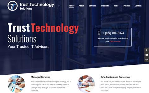 Screenshot of Home Page trustechs.com - Trust Technology Solutions | IT Managed Services Provider - captured Oct. 20, 2018