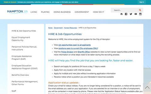 Screenshot of Jobs Page hampton.gov - HIRE & Job Opportunities   Hampton, VA - Official Website - captured Sept. 22, 2018