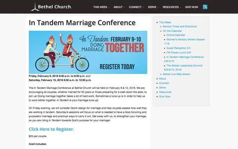 Screenshot of bethelfc.com - In Tandem Marriage Conference - Bethel Church, Fargo, ND - captured Jan. 15, 2018
