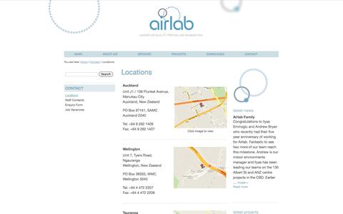 Screenshot of Contact Page Locations Page airlab.co.nz - Locations | Airlab - captured Oct. 23, 2014