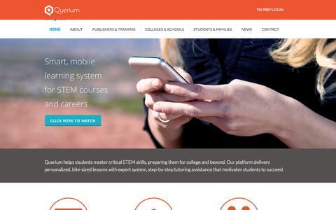 Screenshot of Home Page querium.com - Querium Home | Master Critical STEM Skills | Querium - captured Jan. 14, 2015