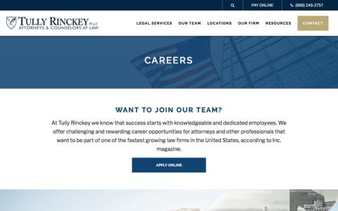 Screenshot of Jobs Page tullylegal.com - Join Our Team | Careers | Tully Rinckey PLLC - captured July 2, 2019