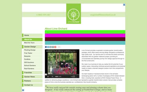 Screenshot of About Page limeorchard.co.uk - About Lime Orchard - National garden design and build advice franchise - captured Sept. 30, 2014
