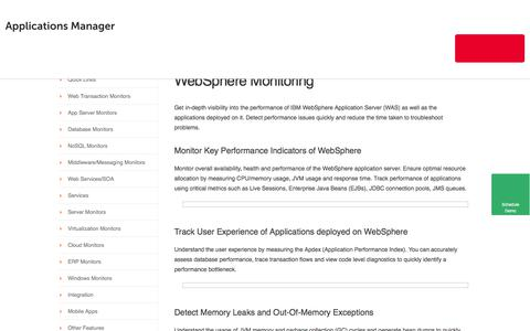 Websphere Monitoring using Applications Manager