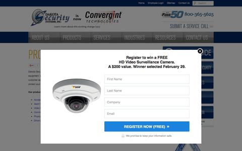Screenshot of Products Page dakotasecurity.com - Dakota Security Systems | Products - captured Feb. 8, 2016