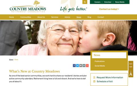 Screenshot of Press Page countrymeadows.com - News | Country Meadows Retirement Communities - captured July 21, 2018