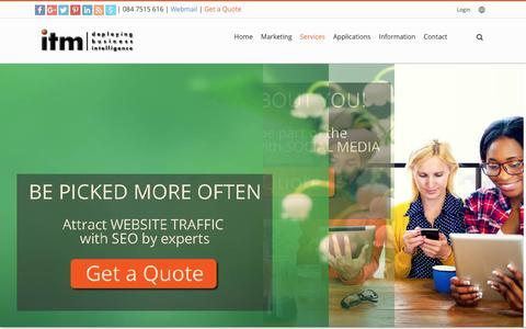 Screenshot of Services Page itm.co.za - ITM Services - website design, hosting development - captured Jan. 15, 2017